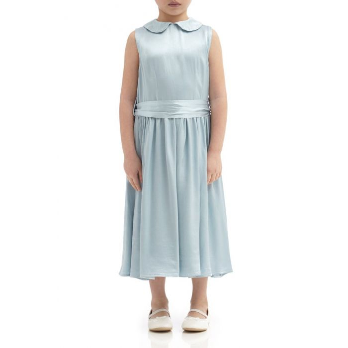 Image for Millie Sky Light Satin Flower Girl Dress