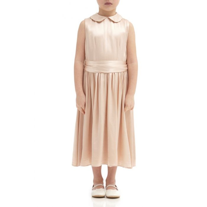 Image for Millie Oyster Satin Flower Girl Dress
