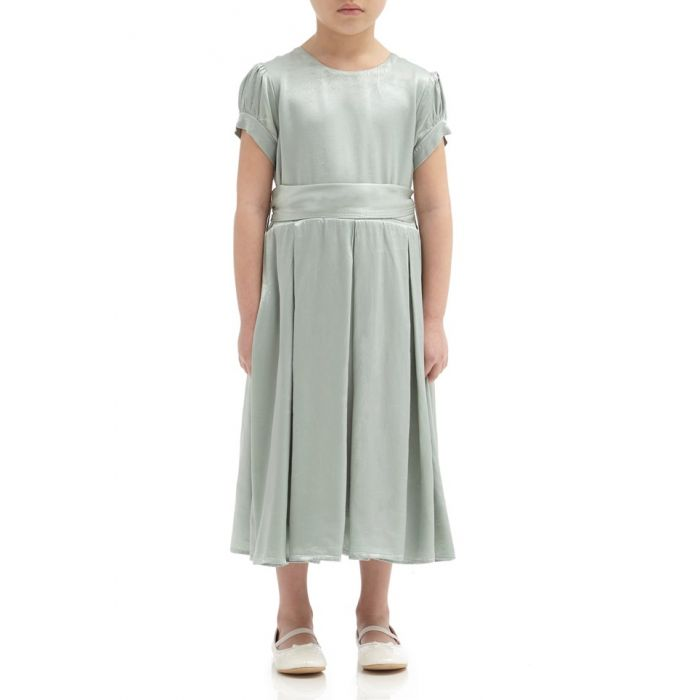 Image for Mia Dusty Green Satin Flower Girl Dress