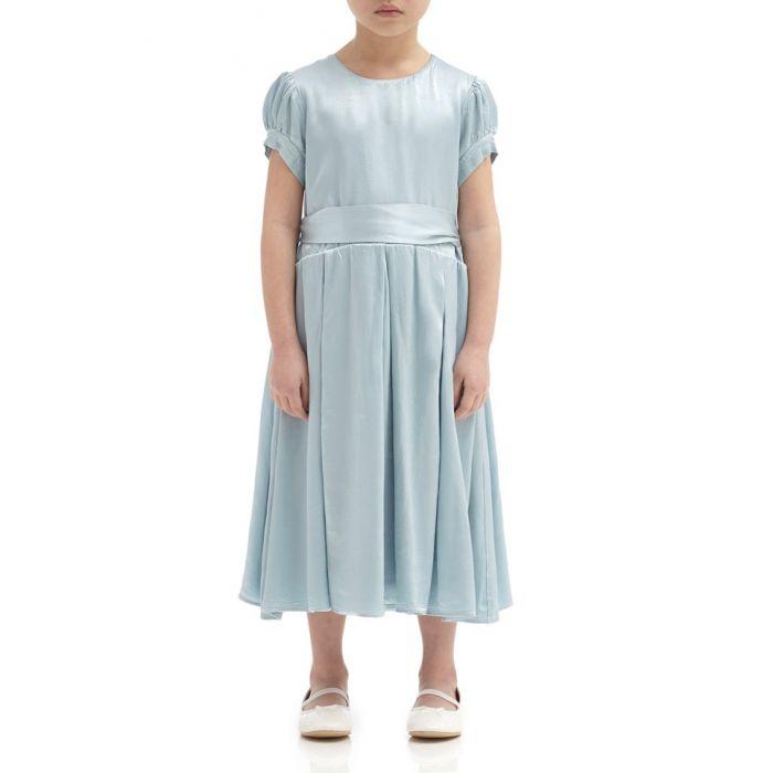Image for Mia Sky Light Satin Flower Girl Dress