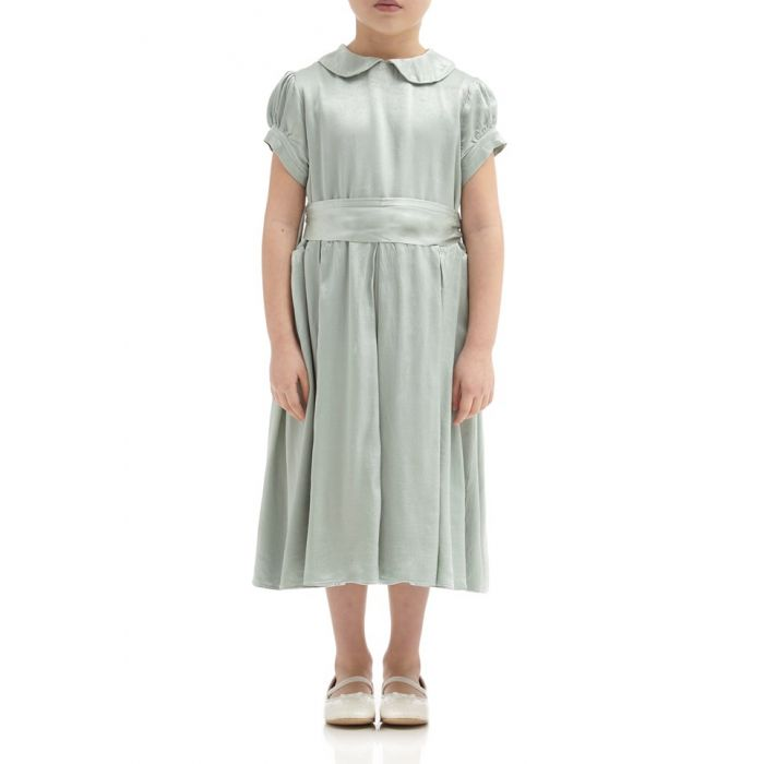 Image for Florence Dusty Green Satin Flower Girl Dress