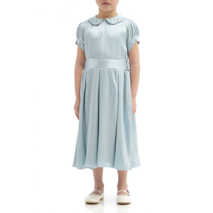 Image for Florence Sky Light Satin Flower Girl Dress