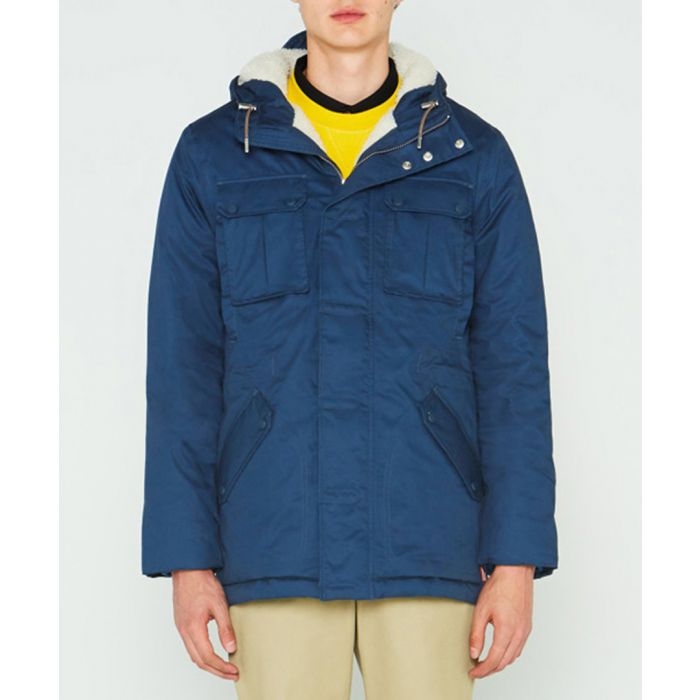 Image for Men's navy pure cotton insulated anorak