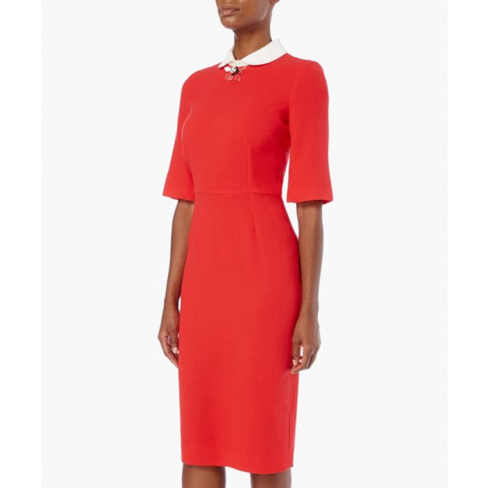Image for Hamlet red wool crepe pencil dress