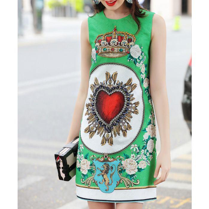 Image for Bright green cotton blend mini dress