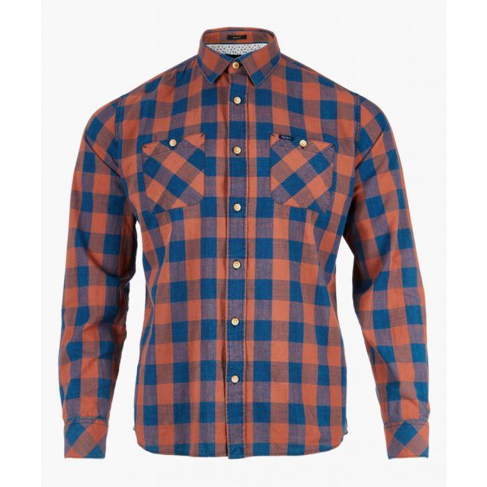 Image for Burnt orange check long sleeve shirt