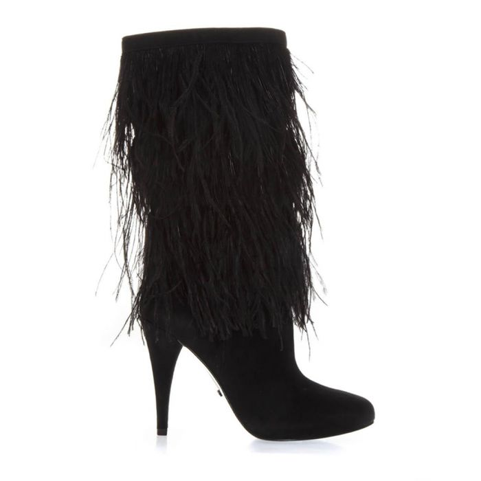 Image for Black suede feathered boots
