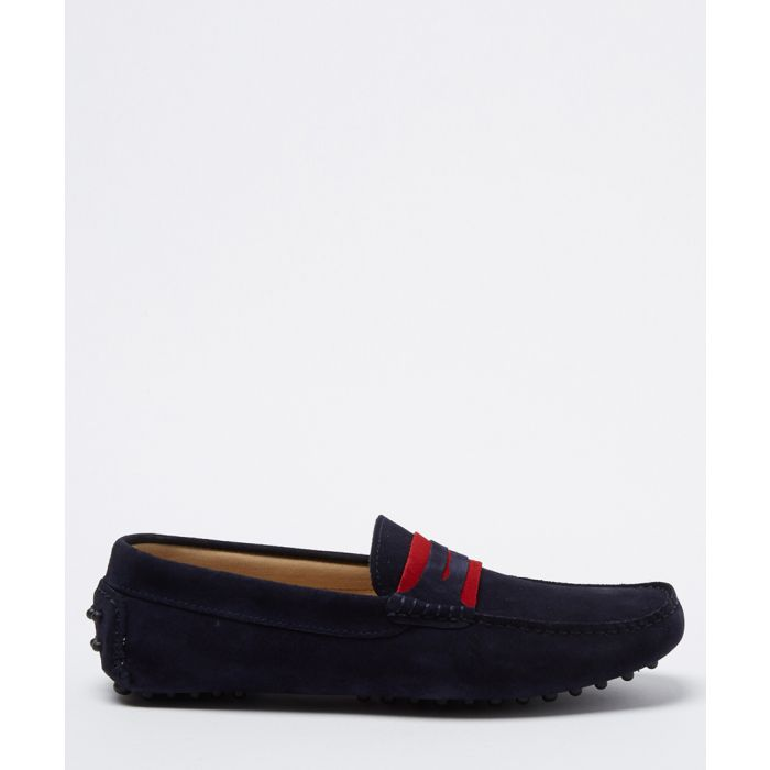 Image for Carpio navy & red suede casual loafers