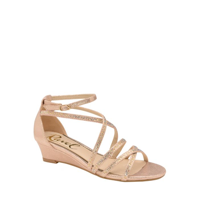 Image for Rose gold-tone strap wedge sandals