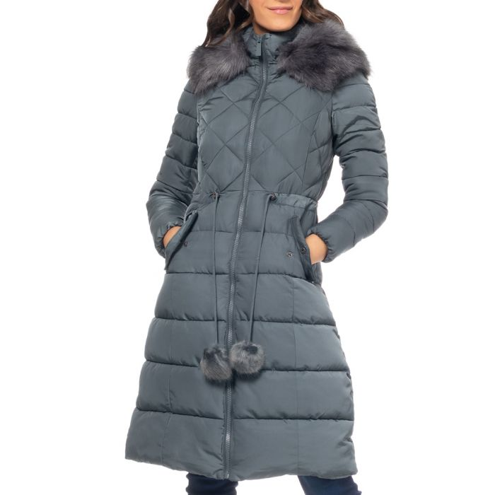 Image for Grey quilted faux fur puffer coat