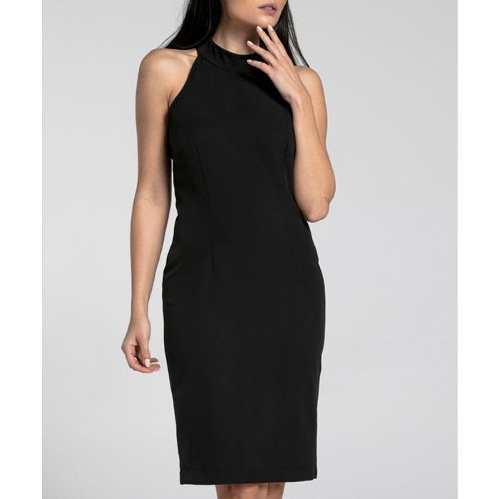 Image for Black halterneck fitted dress