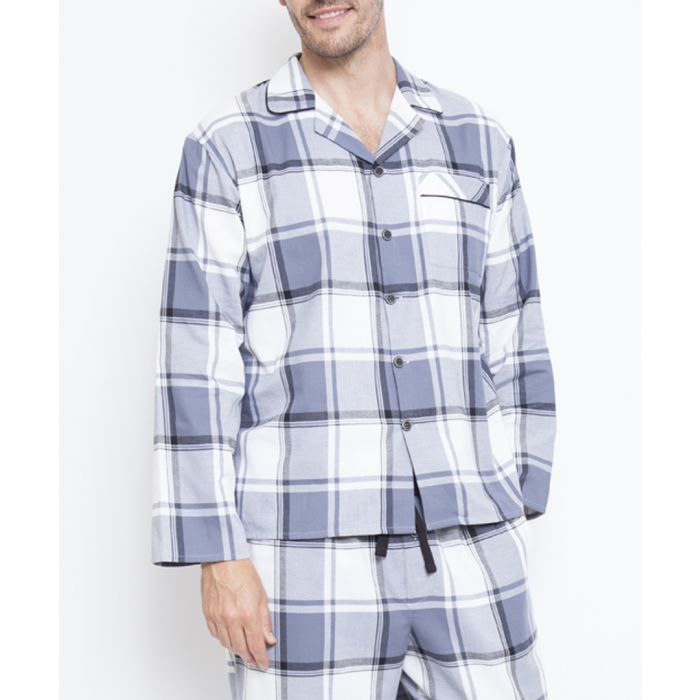 Image for Aspen grey checked pyjama top