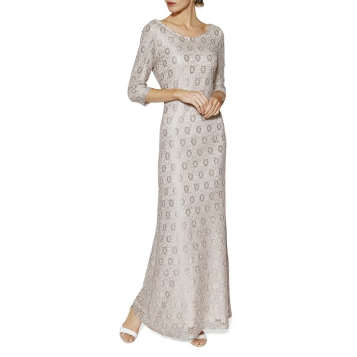 Image for Holly beige lace maxi dress