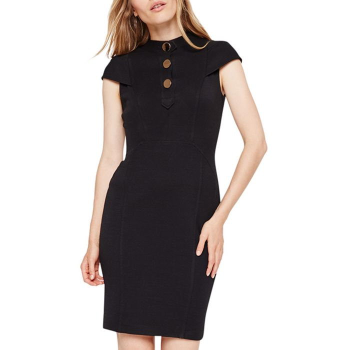 Image for Maddie black cap sleeve button dress