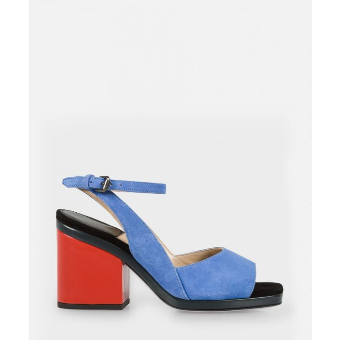 Image for Cornflower blue suede open-toe heels