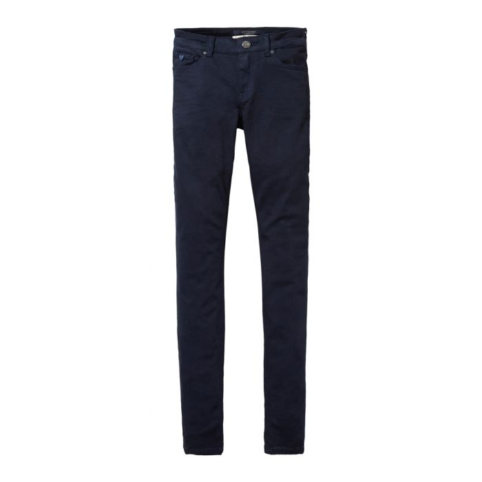 Image for Navy cotton blend detailed chinos