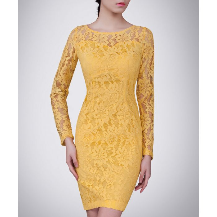 Image for Yellow cotton blend floral lace dress