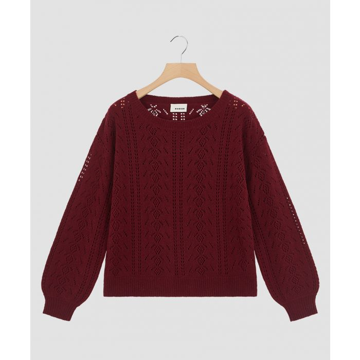 Image for Burgundy wool blend knitted jumper