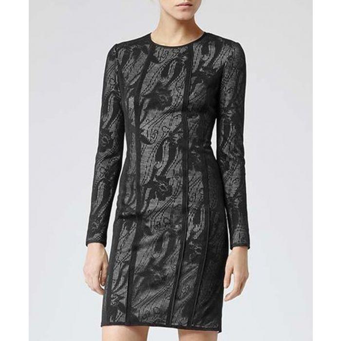 Image for Black & cream print long sleeve dress