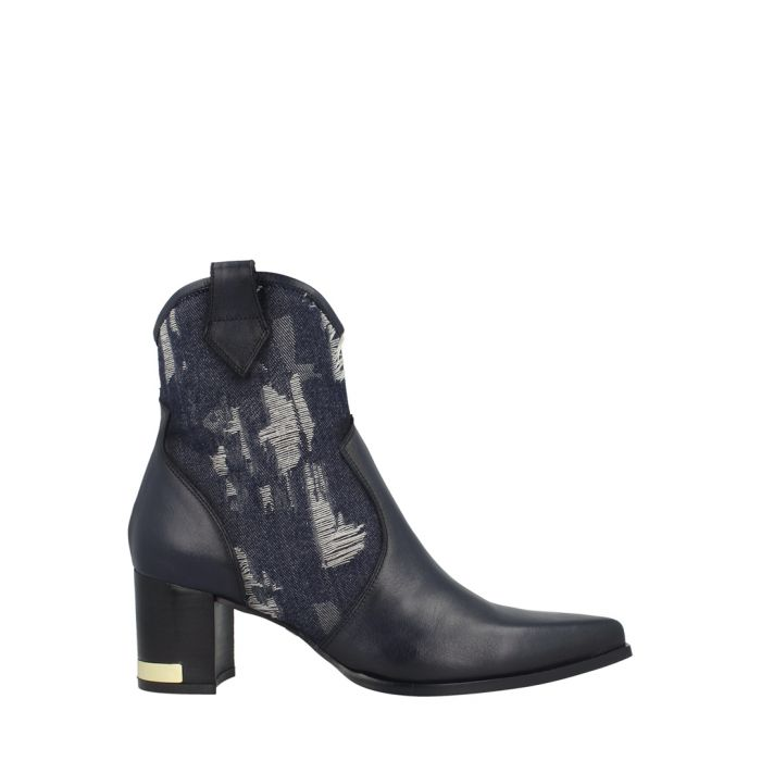 Image for Denim leather ankle boots