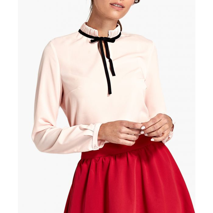 Image for Pink tie-up blouse
