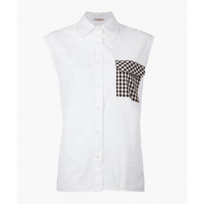Image for White cotton sleeveless gingham blouse