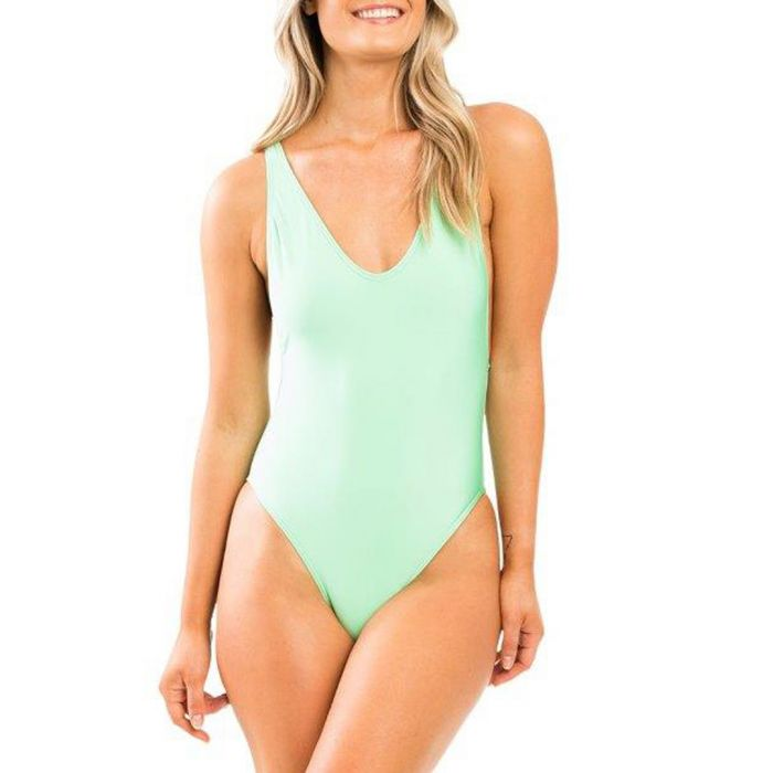 Image for Green plunge swimsuit