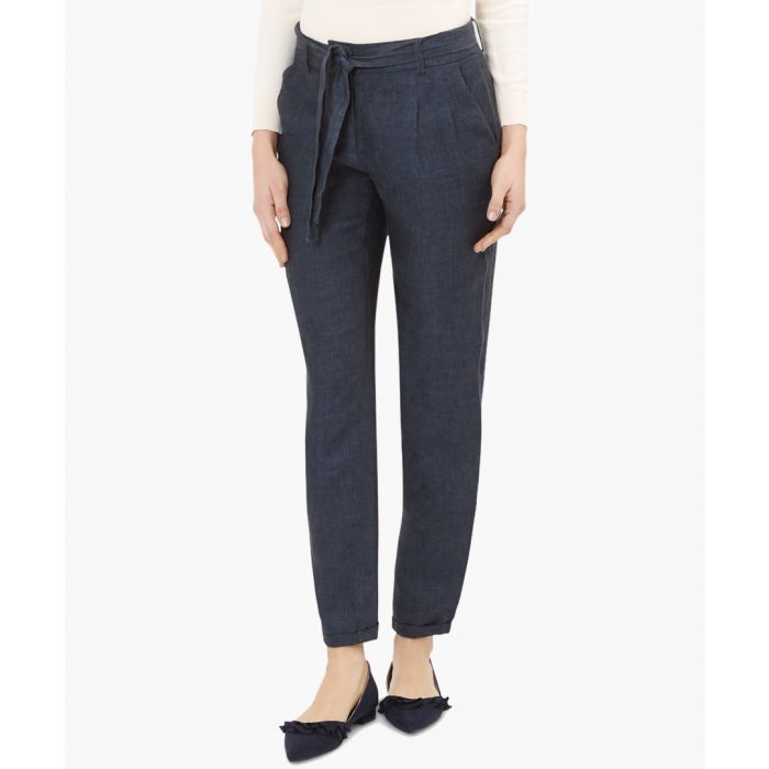 Image for Agatha indigo linen peg leg trousers