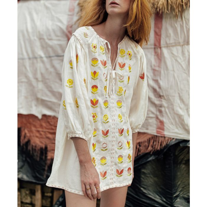 Image for White pure linen embroidered smock dress