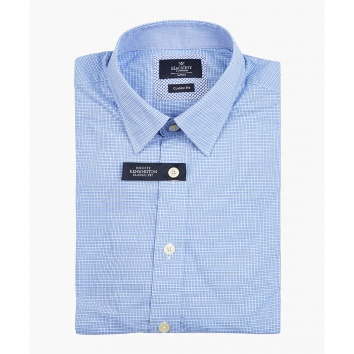 Image for Blue micro checked shirt