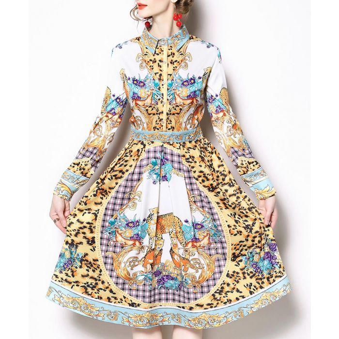 Image for Multi-colour print collar dress