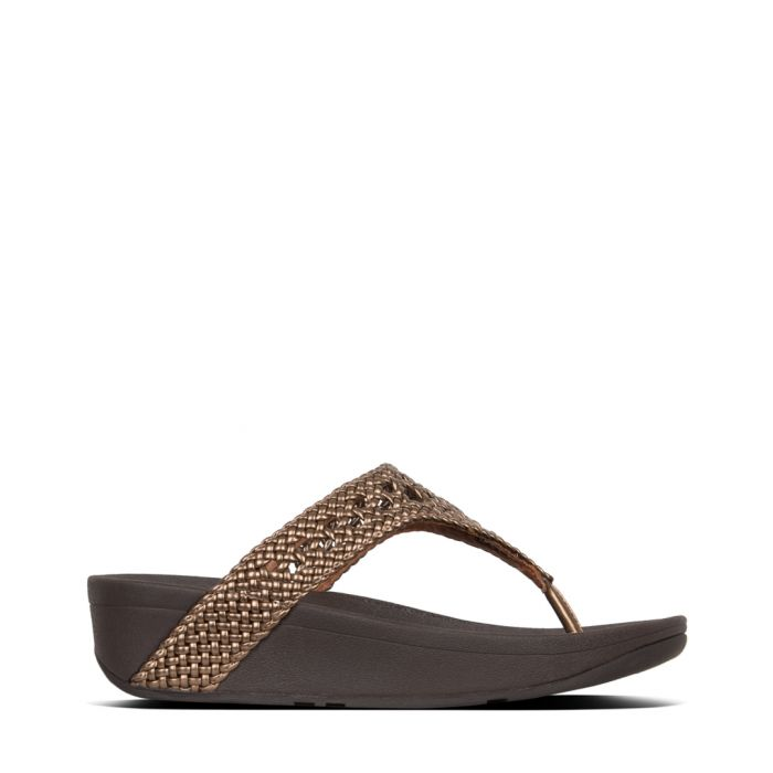 Image for Lottie Wicker bronze-tone sandals