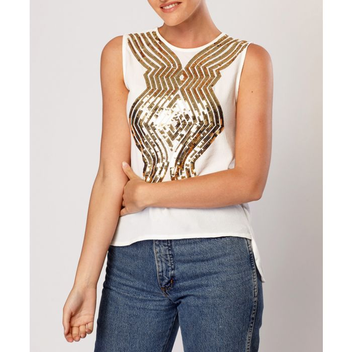 Image for White cotton blend sequin blouse