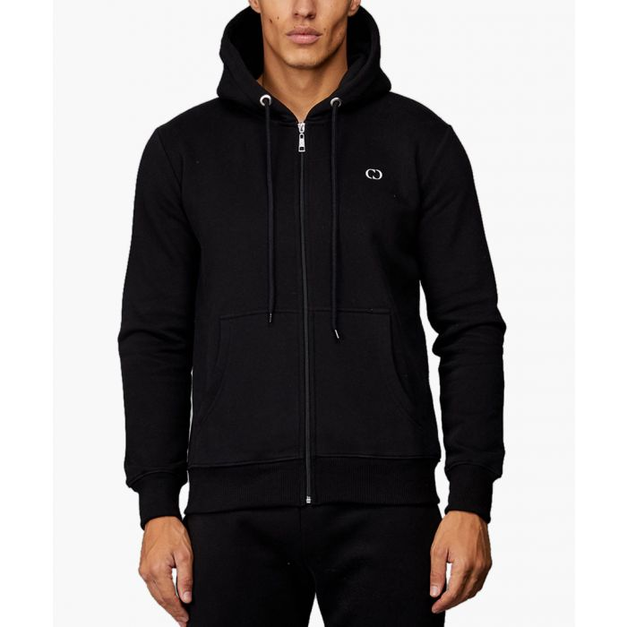 Image for Black pure cotton zip-up hoodie