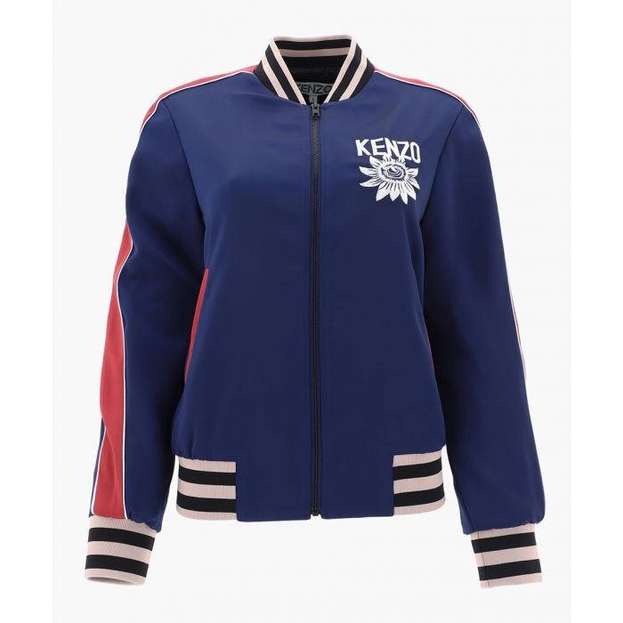 Image for Navy striped Varsity jacket