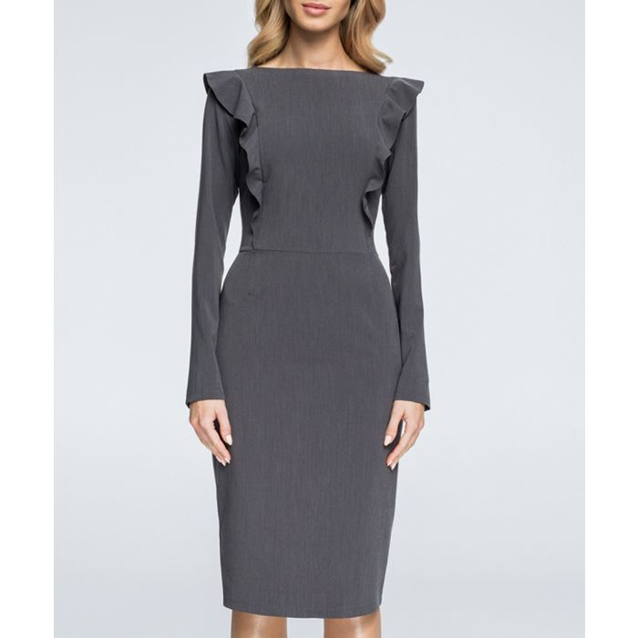 Image for Charcoal ruffle long sleeve dress