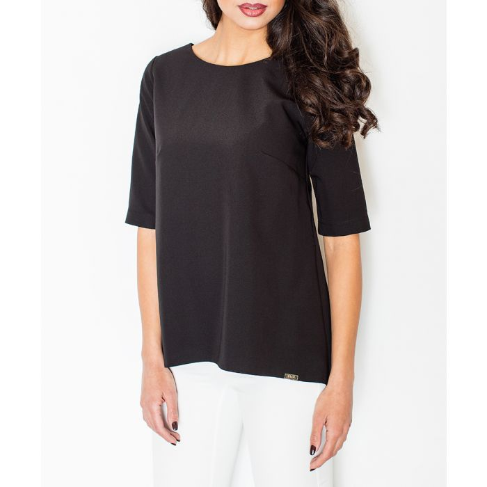 Image for Black cropped sleeve hi-lo top