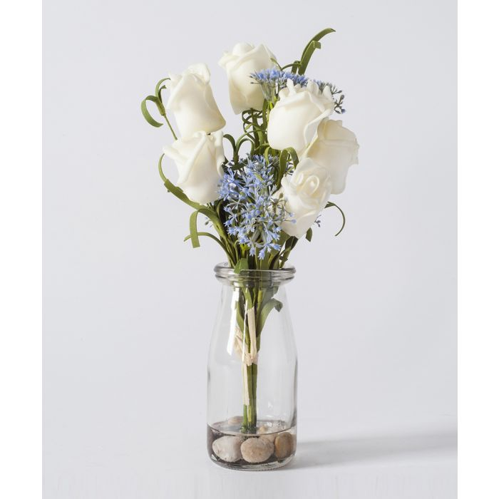 Image for Artificial white rose & glass vase 25cm