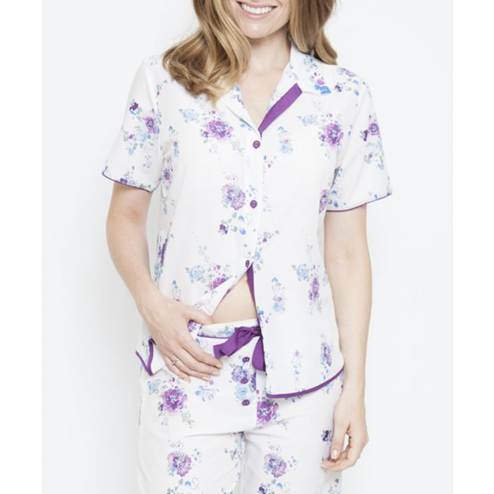 Image for Andrea floral printed pyjama top