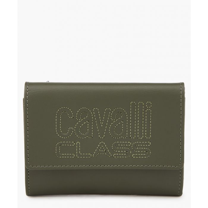 Image for Viviane green leather logo clutch