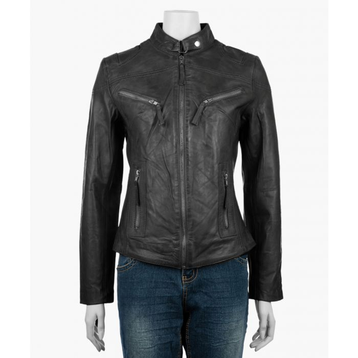 Image for Women's black leather high-neck jacket