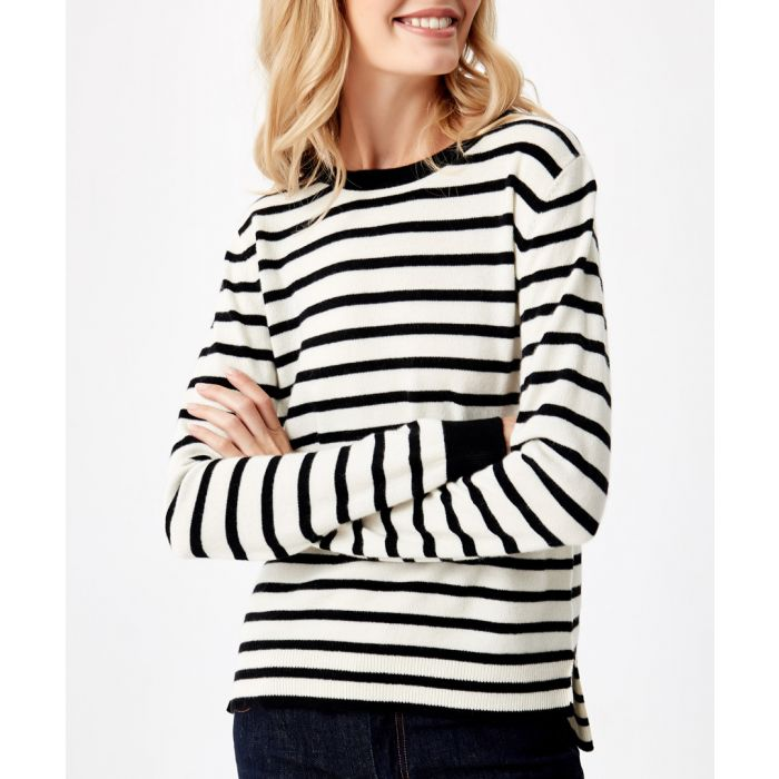Image for Black stripe pure cashmere jumper