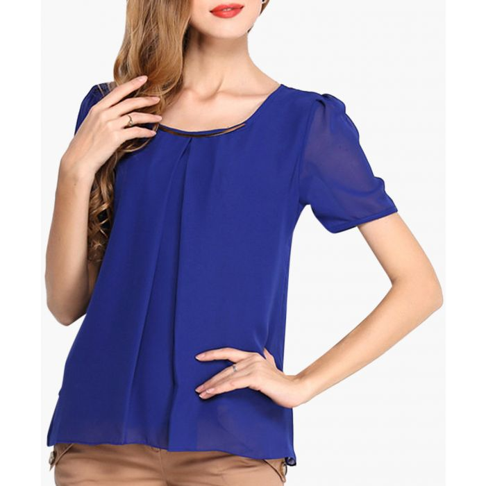 Image for Blue sheer vented blouse