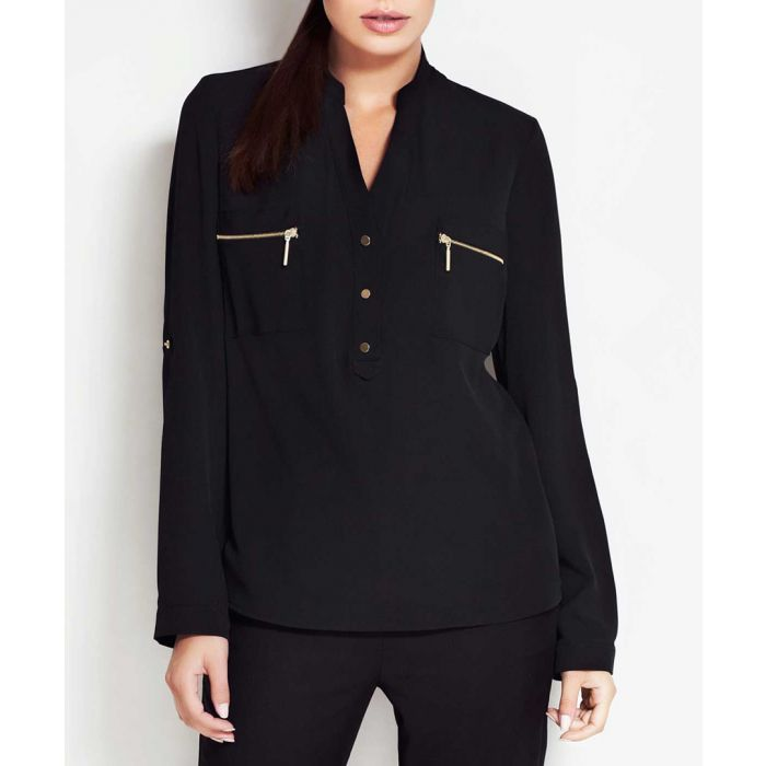 Image for Black V-neck zip button blouse