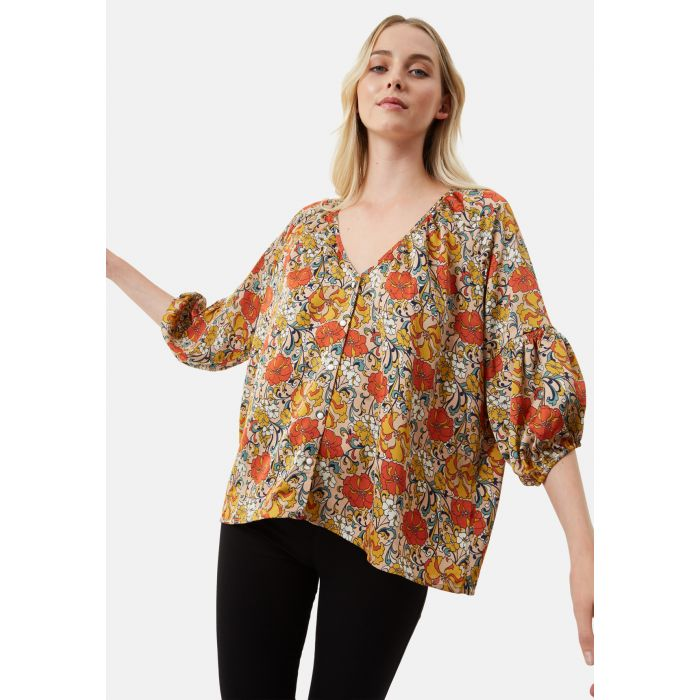 Image for Dolores V-Neck Floral Top in Beige