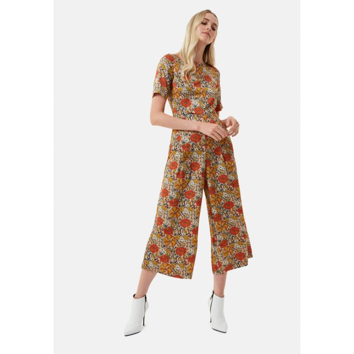 Image for Bianca beige floral satin cropped jumpsuit