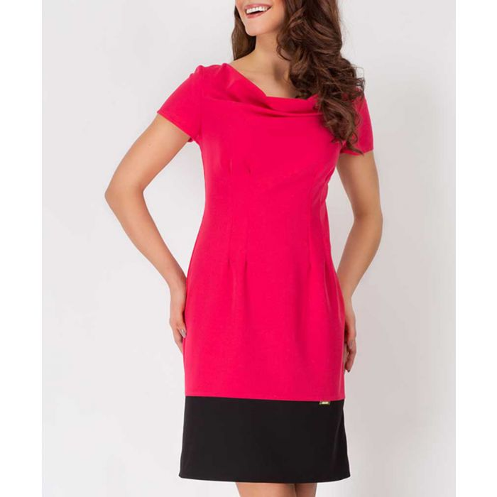 Image for Red & black cowl two-tone dress