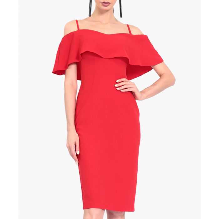 Image for Red ruffle strappy midi dress