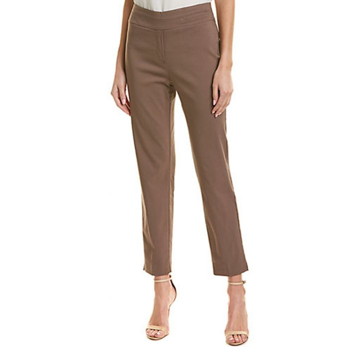 Image for Taupe straight cropped trousers
