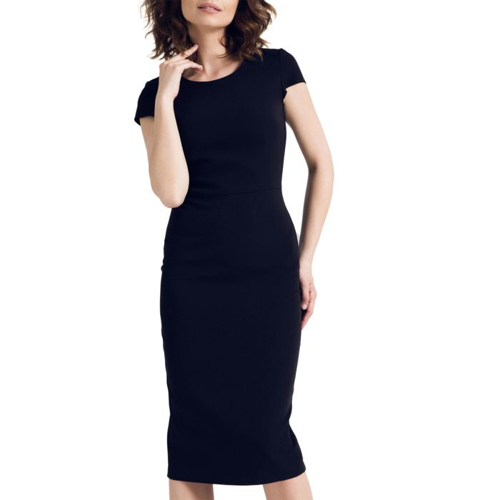 Image for Black cap sleeve knee length dress